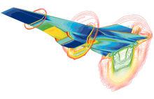 电脑模拟的X-43A飞行器空气力学模型